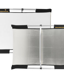 "SUNBOUNCE MICROMINI reflector silver / white 2x3 40 RENTAL he Sunbounce system consists of a collapsible aluminum frame that can be easily assembled and combined with different reflecting, light-reducing, or light-absorbing screens to take full advantage of any kind of light, hard or soft, natural or artificial. 2 x 3' (0.6 x 0.9 m) This Micro Mini Sun-Bounce Kit - Silver/White Screen (2x3')from Sunbounce includes the lightweight, stable, anodized aluminum frame, a reversible silver/white screen, and a shoulder bag to hold the frame and screen. The silver side reflects a ""cool"" contrasty light, and the white side reflects a soft diffused light. The frame is designed with an integrated crossbar and clamp so that it can be comfortably held in many different ways--by hand or by attaching it to a tripod, for instance. The frame and screen fold to fit into the included shoulder bag. Extreme stability--the frames can be quickly disassembled, are made of the highest-quality aluminum and are extremely stable, even in windy conditions Top-quality materials--all reflector screens are manufactured using the world's most high-quality reflective and translucent materials Reliability--the Sunbounce system allows every conceivable lighting situation to be perfectly controlled--even strong wind is manageable Lightweight Mobility--the system can be quickly disassembled and is so light that you can take it anywhere"